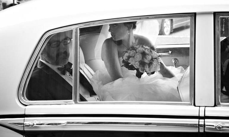 bride in limousine